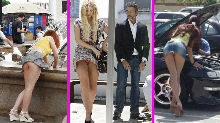 Фотографии девушек в коротких юбках на улице, большие толстые голые жопы раком